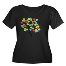 OT Assis Women's Plus Size Dark Scoop Neck T-Shirt