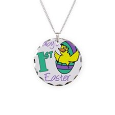 Babys First Easter Shirt Necklace Circle Charm