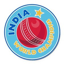 india world champions cricket bal Round Car Magnet