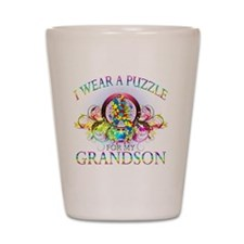 I Wear A Puzzle for my Grandson (floral Shot Glass