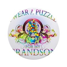 I Wear A Puzzle for my Grandson (fl Round Ornament