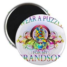 I Wear A Puzzle for my Grandson (floral) Magnet