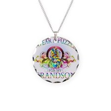 I Wear A Puzzle for my Grand Necklace Circle Charm