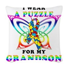 I Wear A Puzzle for my Grandso Woven Throw Pillow