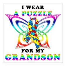 "I Wear A Puzzle for my G Square Car Magnet 3"" x 3"""