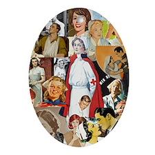 nurse collage poster Oval Ornament