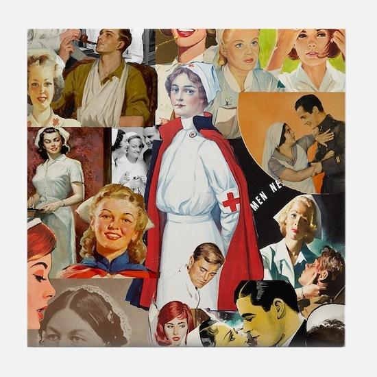 nurse collage poster Tile Coaster