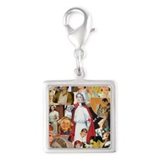 nurse collage poster Silver Square Charm