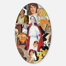 nurse collage poster Sticker (Oval)