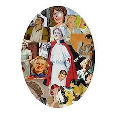 nurse collage mousepad Oval Ornament
