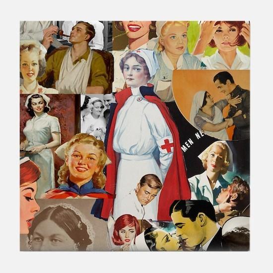 nurse collage mousepad Tile Coaster