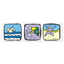 tri-color Bumper Sticker