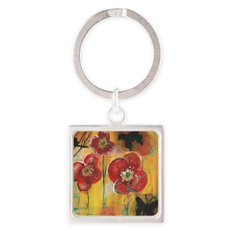Poppies Square Keychain