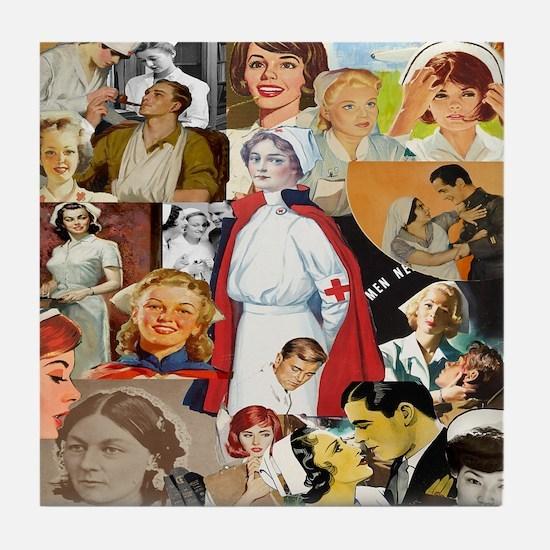 nurse collage pillow Tile Coaster