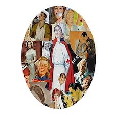 nurse collage journal Oval Ornament