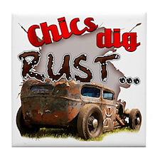Chics Dig Rust Tile Coaster