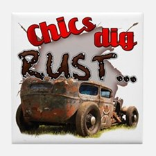 Chics Dig Rust Tile Coaster