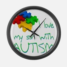 I love my son autism Large Wall Clock