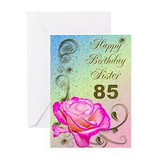 85th birthday card for sister, Elegant rose Greeti
