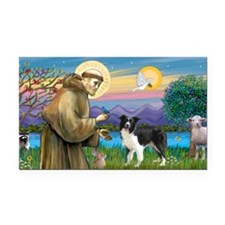 LIC-St Francis - Border Colli Rectangle Car Magnet