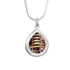 chair sunflower Silver Teardrop Necklace