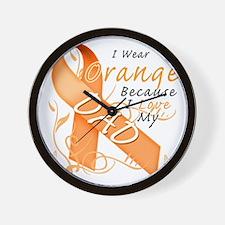 I Wear Orange Because I Love My Dad Wall Clock