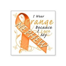 "I Wear Orange Because I Lov Square Sticker 3"" x 3"""