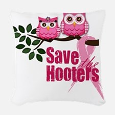 save the hooters 2 copy Woven Throw Pillow
