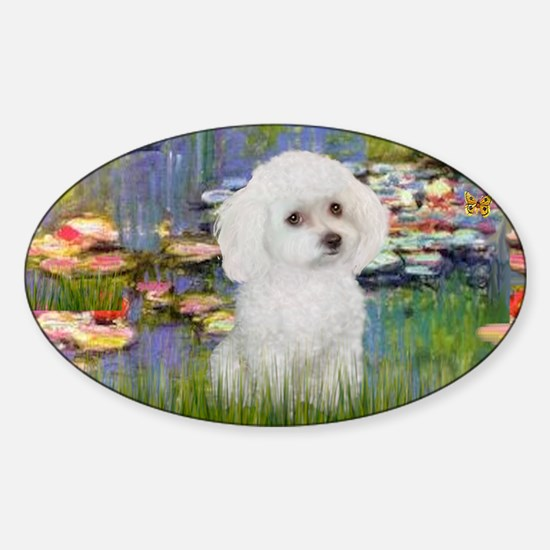 LIC - Lilies 2 - Poodle (White toy) Sticker (Oval)