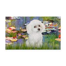 LIC - Lilies 2 - Poodle (Whit Rectangle Car Magnet