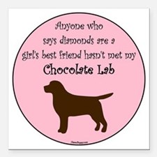 "GBF_Lab_Chocolate Square Car Magnet 3"" x 3"""