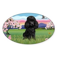 LIC-Blossoms-Black Toy Poodle Decal