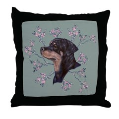 Rottweiler female head study Throw Pillow