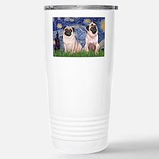 LIC-Starry Night - Pugs (two fa Travel Mug