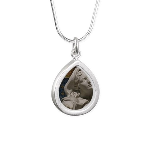 Mary Reaching Silver Teardrop Necklace