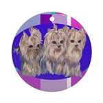 3 Yorkie Puppies Ornament (Round)