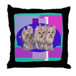 3 Yorkie Puppies Throw Pillow