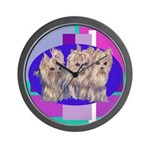 3 Yorkie Puppies Wall Clock