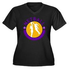 Netball play Women's Plus Size Dark V-Neck T-Shirt