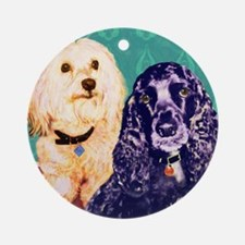 Maltese/Cocker Spaniel Round Ornament