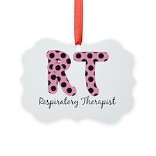 RT Respiratory Therapist PINK BLA Ornament