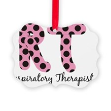 RT Respiratory Therapist PINK BLA Picture Ornament
