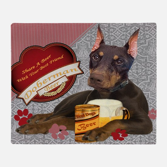 DOBERMAN SHARE A BEER art Throw Blanket
