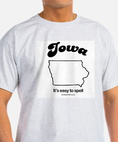 Iowa - easy to spell Ash Grey T-Shirt