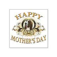 "Happy Mothers Day Bassett H Square Sticker 3"" x 3"""