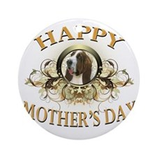 Happy Mothers Day Bassett Hound Round Ornament