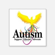 "Autism-Phoenix Square Sticker 3"" x 3"""