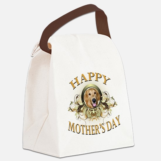 Happy Mothers Day Golden Retrieve Canvas Lunch Bag