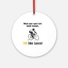 TRI Like Lance Black Round Ornament