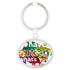 I-Have-Autism-blk Oval Keychain